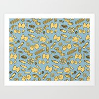pasta Art Prints featuring pasta  by Jen Gottlieb