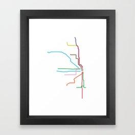 Chicago CTA Map, Chicago Train Map Art, Chicago L Train Map, Chicago Art, Chicago Wall Art, Map Art Framed Art Print