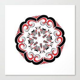 Floral Black and Red Round Ornament Canvas Print