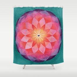 Watercolor Sacred Geometry Flower Mandala Shower Curtain