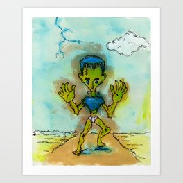 Boltneck in Briefs Art Print