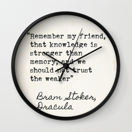 Bram Stoker, Dracula, old quote. Wall Clock
