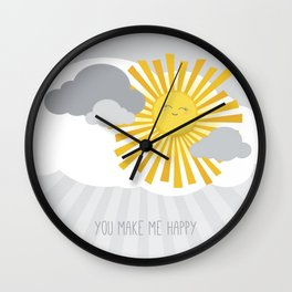 KAWAII SKY - smiling sun in grey clouds - you make me happy Wall Clock