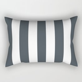 Arsenic grey - solid color - white vertical lines pattern Rectangular Pillow