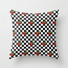 Checkered Cherries Throw Pillow