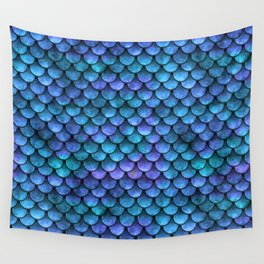 Blue Turquoise Watercolor Mermaid Scale Pattern Wall Tapestry