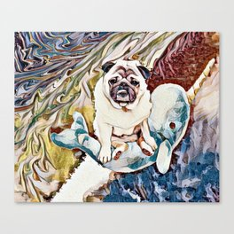 Pug Riding a Narwhal Through Space-Time Canvas Print