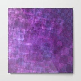 Abstract Purple Squares Digital Painting Metal Print