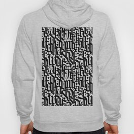 typography pattern 4 - seamless   calligraphy design - black and white Hoody