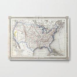 Vintage United States Gold Rush Regions Map (1852) Metal Print