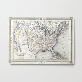 Vintage United States Gold Rush Regions Map (1852) Metal Print