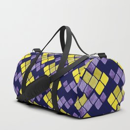 Mozaic pattern in faux gold, yellow, purple and navy indigo Duffle Bag