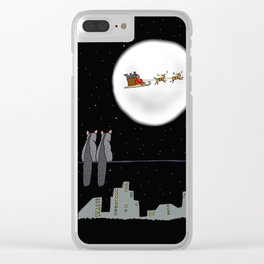 Two Brishtail Possums watching Father Christmas Clear iPhone Case