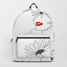 Minimal Line Art Girl with Sunflowers Rucksack