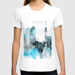 Tokyo Japan Monochrome Blue Skyline T-shirt