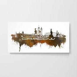 Cracow skyline city brown #cracow #skyline Metal Print