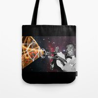 louis armstrong Tote Bags featuring Louis Light (Digital Collage) by Jeff Taylor