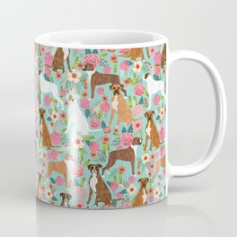 Boxer dog breed florals mint pastel turquoise cute pet portrait animal fur baby must have gifts  Coffee Mug