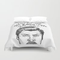 parks Duvet Covers featuring Ron Swanson. [Parks and Recreation] by Jillian Kaye