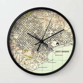 Vintage Map of Santa Barbara California (1944) Wall Clock