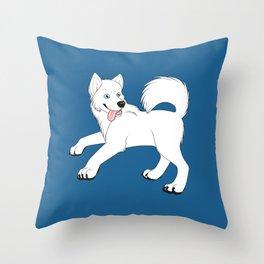 Husky (White) Throw Pillow