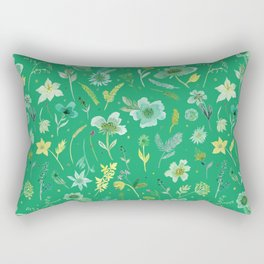 Verdant Flowers on Emerald Background Rectangular Pillow