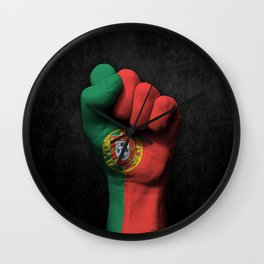 Portuguese Flag on a Raised Clenched Fist Wall Clock