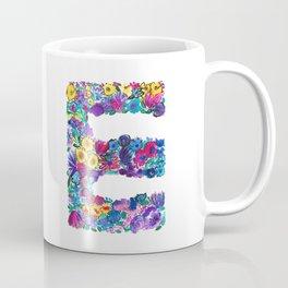 E Letter Floral Coffee Mug