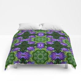 Bottle gentian kaleidoscope mandala (1085) Comforters