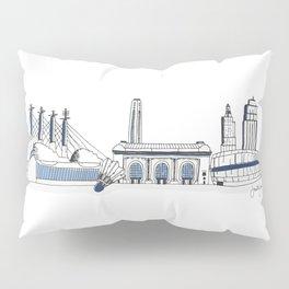 Kansas City Skyline Illustration in Sporting KC Colors Pillow Sham