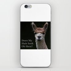 Funny hairstyle alpaca iPhone Skin