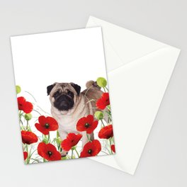 Pug - Poppies Field Stationery Cards