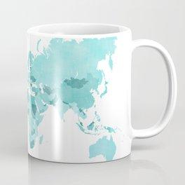 Distressed world map in aquamarine and teal Coffee Mug