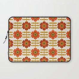 Famoo - floral retro 70s style throwback 1970's flower pattern Laptop Sleeve
