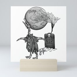 Penguin Zombie -Black and white Mini Art Print
