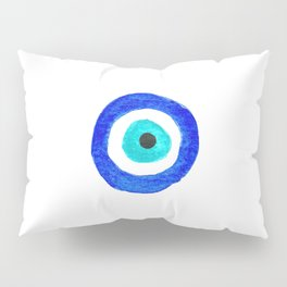 Single Evil Eye Amulet Talisman Ojo Nazar - on white Pillow Sham