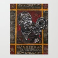 louis armstrong Canvas Prints featuring Louis Armstrong by Ray Stephenson