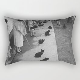 Black Cats Auditioning in Hollywood black and white photograph Rectangular Pillow