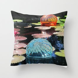 Lily Pond and Glass Floaters Throw Pillow