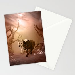 Awesome wolf in the darkness of the night Stationery Cards