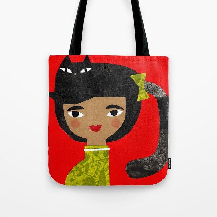 BLACK PONY TAIL Tote Bag