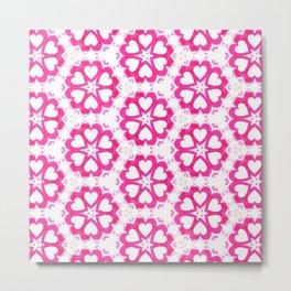 Valentines Pink White Heart Patterns Metal Print