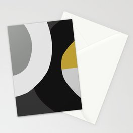 Circles Black and Gold Stationery Cards