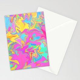 pink oil slick Stationery Cards