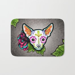 Chihuahua in White - Day of the Dead Sugar Skull Dog Bath Mat