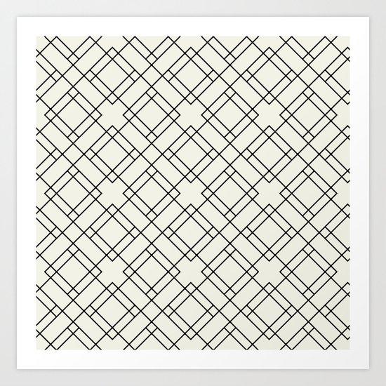 Simply Mod Diamond Black and Cream Art Print