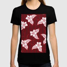 Fashion red flame scarlet white floral hand drawn geometric stripes pattern T-shirt