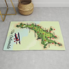 The Cotswolds Vintage Map Rug