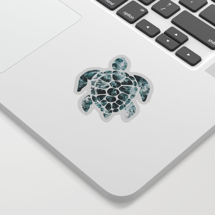 Sea Turtle - Turquoise Ocean Waves Sticker
