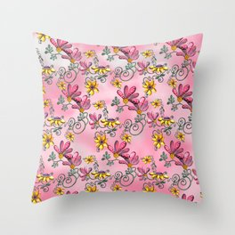 Dancing Flowers Pink Throw Pillow
